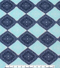 Anti-Pill Fleece Fabric 61\u0022-Navy Teal Ink Stamp