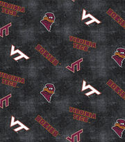 "Virginia Tech Hokies Flannel Fabric 42""-Distressed Logo, , hi-res"