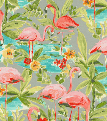 """P/K Lifestyles Outdoor Fabric 54""""-Flamingoing Platnium"""
