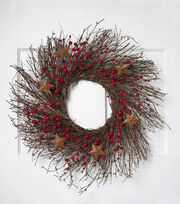 Blooming Holiday Christmas Berry, Grapevine & Star Wreath-Red & Brown, , hi-res