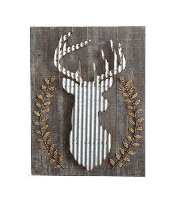 3R Studios Wood & Corrugated Metal Deer Wall Decor