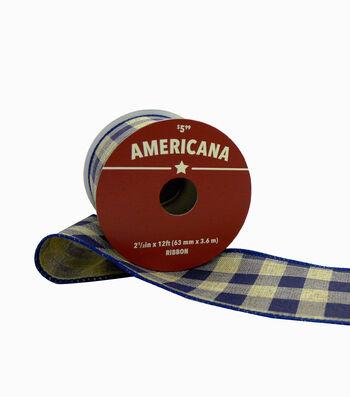 "Americana Ribbon 2.5""x12'-Blue & Beige Buffalo Plaid"
