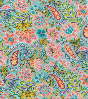 Double Faced Pre-Quilted Cotton Fabric 42''-Teal Paisley