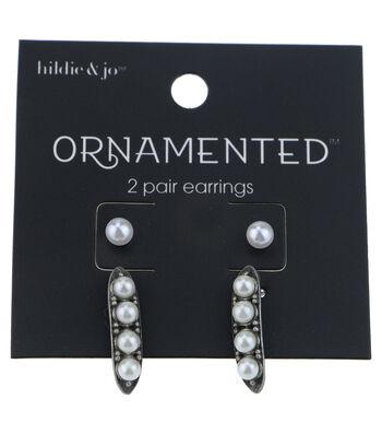 hildie & jo™ Ornamented 2 Pack Antique Silver Earrings-Pearls