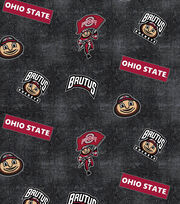 "Ohio State University Buckeyes Flannel Fabric 42""-Distressed Logo, , hi-res"