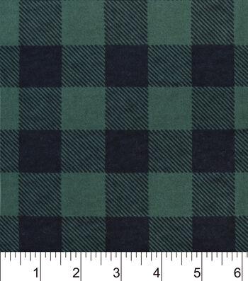 """Snuggle Flannel Fabric 42""""-Green Buffalo Check"""