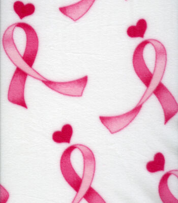 Anti-Pill Fleece Fabric 59''-Pink Ribbons & Hearts on White