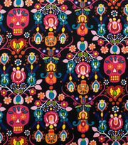 "Alexander Henry Cotton Fabric 44""-Calaveras Del Mar Black Brite, , hi-res"