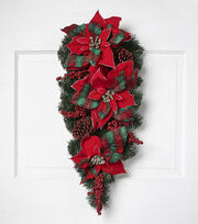 Blooming Holiday 26'' Poinsettia, Pinecone, Pine & Berry Teardrop-Red, , hi-res