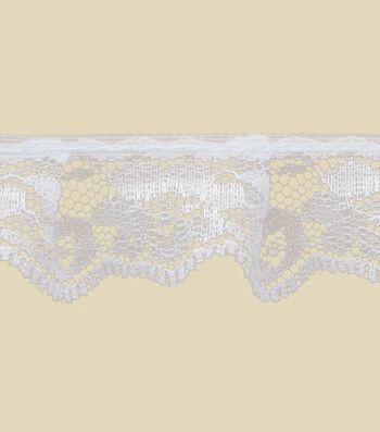 "1 1/8"" White Lace Apparel Trim"