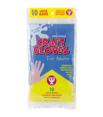 Adult Colored Craft Gloves 10/Pkg-Assorted