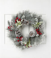 Blooming Holiday Christmas 23'' Pine, Pinecone & Berry Wreath-White/Red, , hi-res