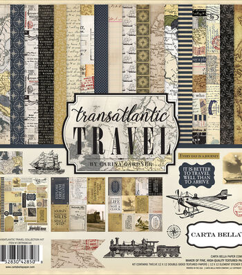 "Carta Bella Collection Kit 12""X12""-Transatlantic Travel"