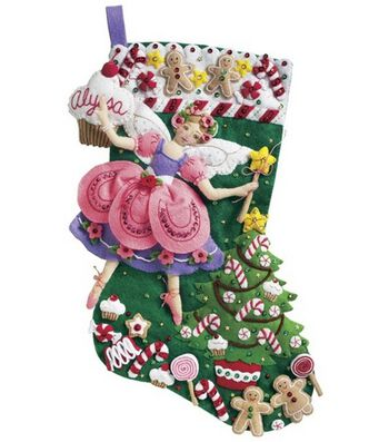"Bucilla Sugar Plum Fairy Stocking Felt Applique Kit-18"" Long"