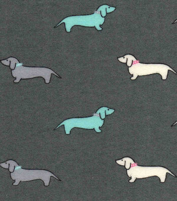 """Luxe Flannel Fabric 42""""-Little Dachshunds Gray Heather"""