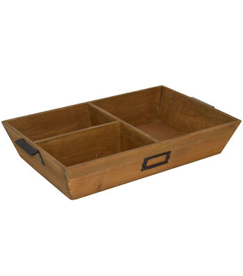 Farm Storage 3-Section Wooden Tray