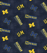 "University of Michigan Wolverines Flannel Fabric 42""-Distressed Logo, , hi-res"