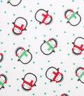 Holiday Showcase™ Christmas Cotton Fabric 43\u0027\u0027-Cold Penguins on White