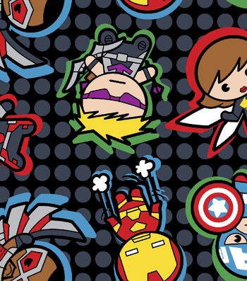 Marvel Comics Kawaii Fleece Fabric 59''-Character Toss on Dots