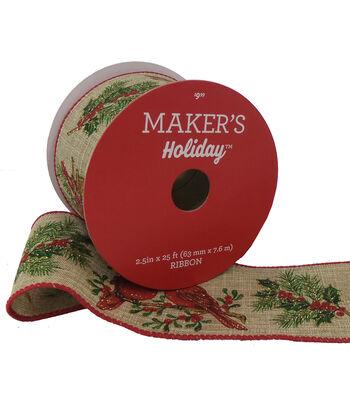 Maker's Holiday Christmas Ribbon 2.5''x25'-Cardinals