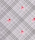 1930\u0027s Cotton Fabric 43\u0022-Cherry Plaid Gray