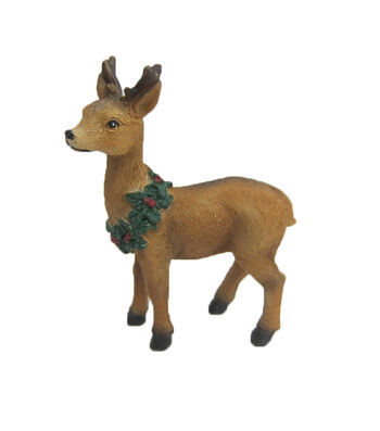 Maker's Holiday Christmas Littles Resin Standing Deer with Wreath