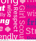 Girl Scout Fleece Fabric 59\u0022-Pink Text