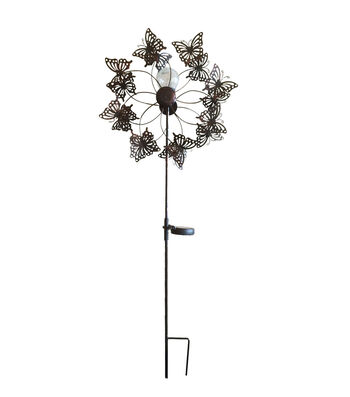 Wild Blooms Metal Solar Butterfly Yard Stake