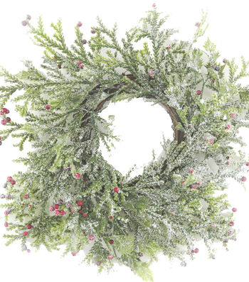 Blooming Holiday Berry Mini Wreath-Frosted