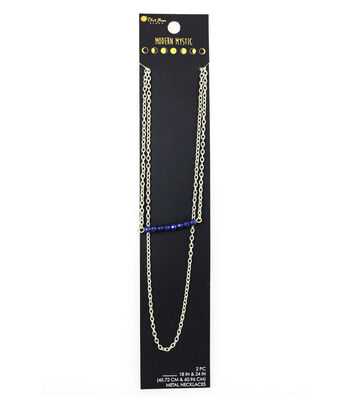 Blue Moon Beads® Modern Mystic Layering Metal Necklace Duo-Blue Bar