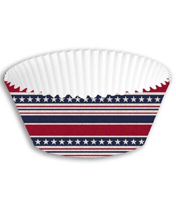 Americana Patriotic 50 pk Cupcake Wrappers-Stars & Stripes