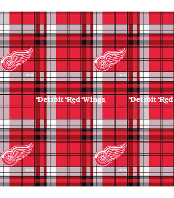 "Detroit Red Wings Fleece Fabric 60""-Plaid"