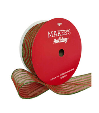 Maker's Holiday Christmas Value Ribbon 2.5''x100'-Red & Green Stripe