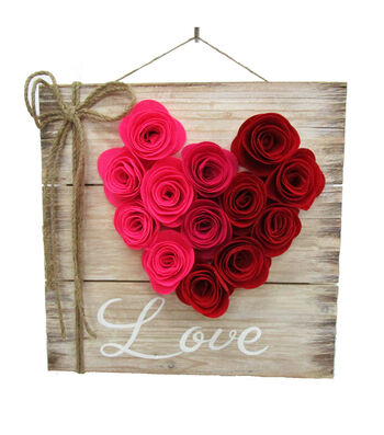 Valentine's Day Wood Wall Decor-Felt Rose & Love