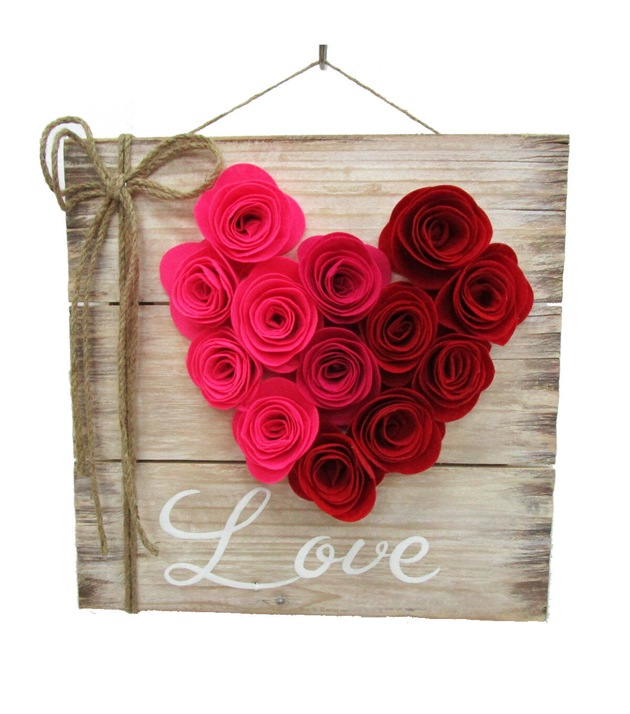 Valentineu0027s Day Wood Wall Decor Felt Rose U0026 Love