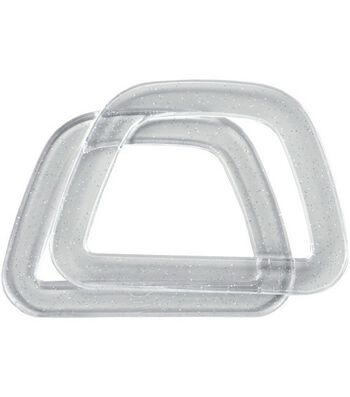 Clover Plastic D-Shaped Handles-Crystal W/Glitter