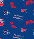 University of Mississippi Ole Miss Rebels Cotton Fabric 44\u0022-Allover