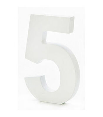 6 inch White Wood Number