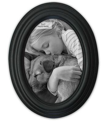 Oval Photo Frame 5''x7''-Distressed Black