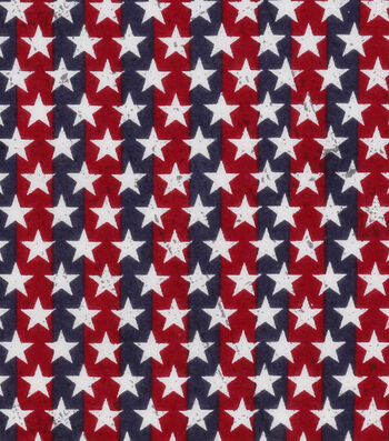 Patriotic Cotton Fabric 43''-Stars on Stripes