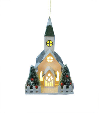Maker's Holiday Christmas White Church with Green Roof Ornament