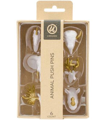 U Brands Animal Head Push Pins 6pk-White & Gold