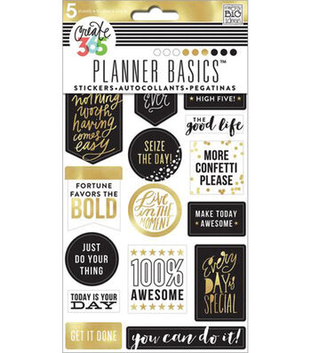 Create 365 Planner Stickers 5 Sheets/Pkg-Gold-Seize The Day