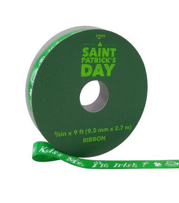 St. Patrick's Day Ribbon 3/8''x9'-Kiss Me. I'm Irish on Green