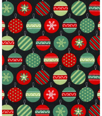 Holiday Showcase™ Christmas Cotton Fabric 43''-Packed Ornaments on Black