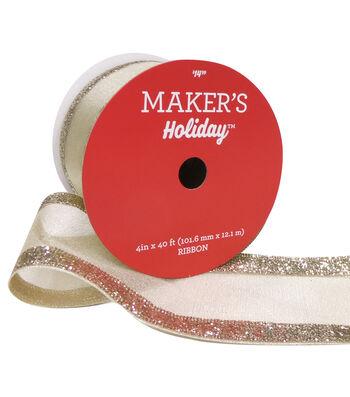 Maker's Holiday Christmas Sheer Ribbon 4''X40'-Gold Glitter Edge