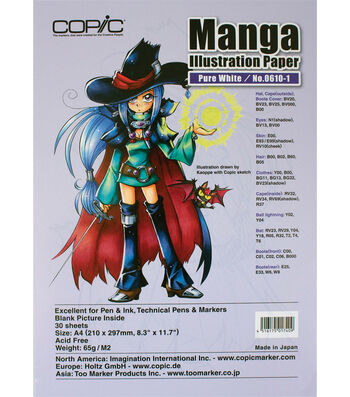 """Copic Manga Illustration Paper A4 8.3""""X11.7"""" 30 Pack-Pure White"""