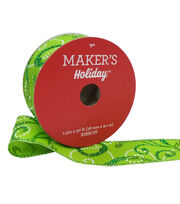 Maker's Holiday Christmas Ribbon 1.5''x30'-Glitter Swirls on Lime, , hi-res