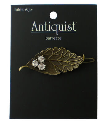 hildie & jo™ Antiquist Leaf Antique Gold Barrette-Clear Crystals