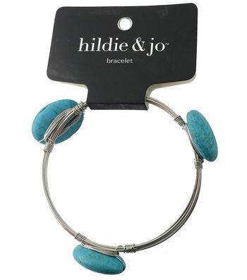 hildie & jo 7'' Silver Bangle Bracelet-Turquoise Stones